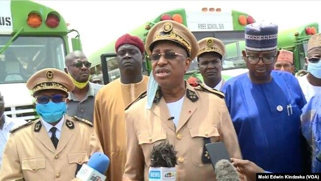 FILE - Midjiyawa Bakari, governor of Cameroon's Far North region on the border with Nigeria in Mora, Sept. 18, 2021.