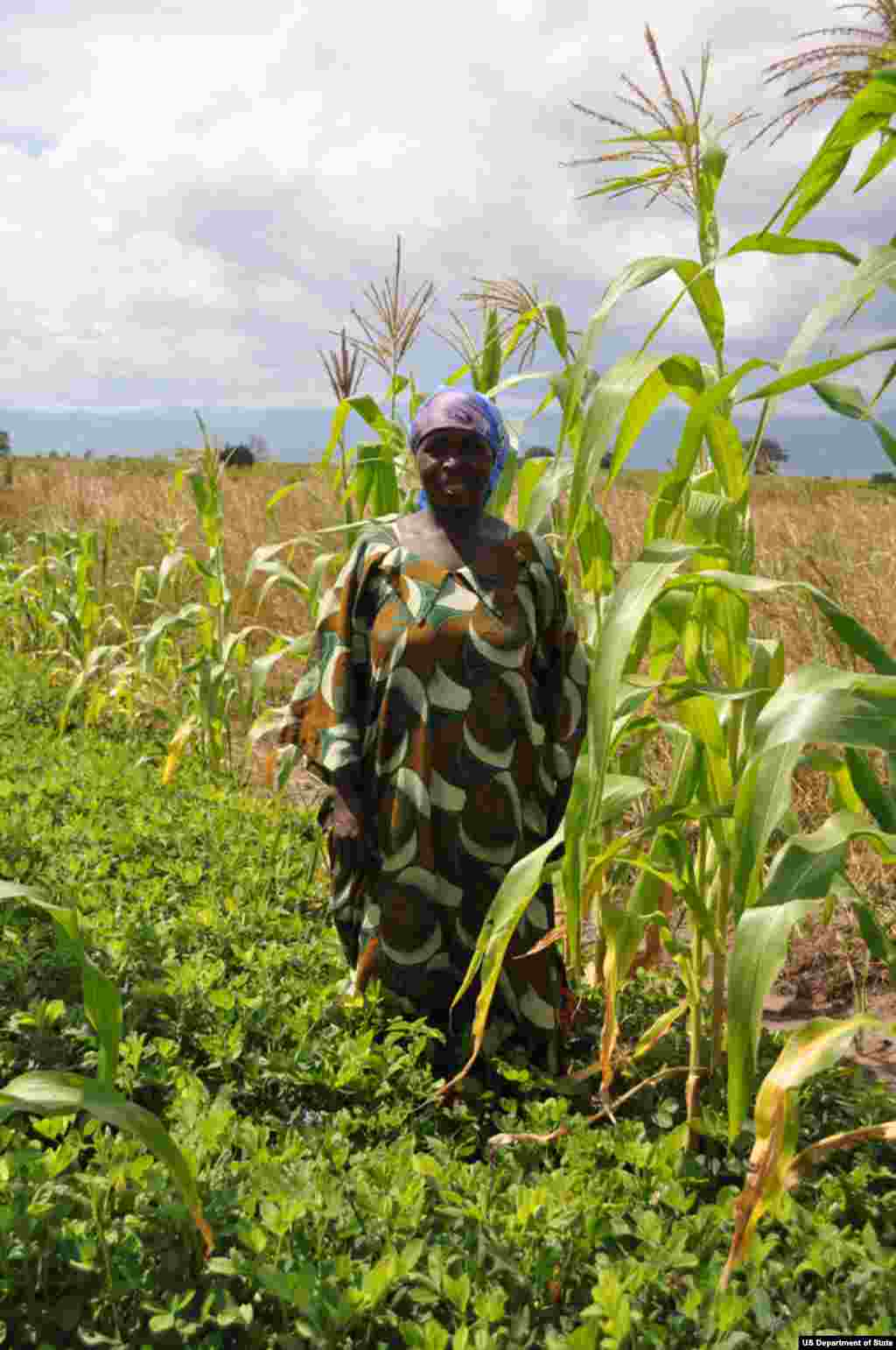 Congo Farmer standing in demonstration plot of maize and groundnuts in Kigurwe Democratic Republic of the Congo photo credit: Jessica Hartl, USAID
