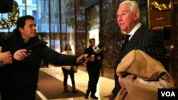 FILE - Roger Stone, a political strategist and Donald Trump adviser, is seen leaving Trump Tower in New York. (R. Taylor / VOA)