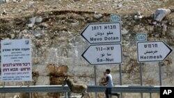 巴勒斯坦青年赶驴 路标指向定居点
