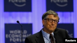 Microsoft founder Bill Gates attends a session at the annual meeting of the World Economic Forum in Davos, Switzerland, Jan. 24, 2014.