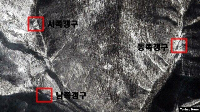 구글 어스가 지난해 11월 13일 촬영한 북한 함경북도 길주군 풍계리 핵실험장 일대 모습.