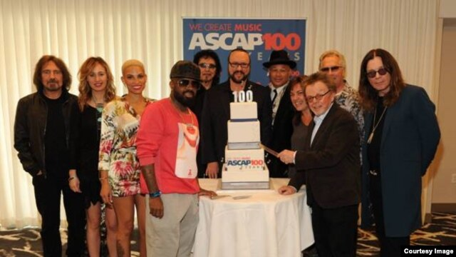 ASCAP artists celebrate its 100th birthday. Left to right: Black Sabbath's Geezer Butler, Jessi Alexander, Goapele, Jermaine Dupri, Black Sabbath's Tony Iommi, Desmond Child, Narada Michael Walden, Claudia Brant, Paul Williams, Jon Lind and Ozzy Osbourne.
