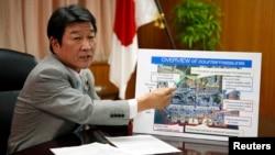 Menteri Industri, Perdagangan dan Ekonomi Jepang Toshimitsu Motegi memberikan penjelasan kepada media (foto: dok).