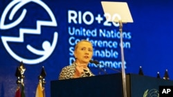 U.S. Secretary of State Hillary Clinton delivers remarks at the Rio+20 conference.