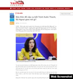 Bài báo của Vietnam Finance được VOA chụp trước khi bị gỡ, ngày 26/2/2021.
