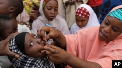 FILE - A health official administers a polio vaccine to a child in Kawo Kano, Nigeria. The World Health Organization reportedly has confirmed a third case of polio in the country.
