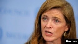 FILE - U.S. Ambassador to the United Nations Samantha Power