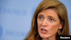 FILE - U.S. Ambassador to the United Nations Samantha Power