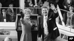 Рональд и Нэнси Рейганы во время инаугурации 40-го президента США, Белый дом, Вашингтон, 20 января 1981 года