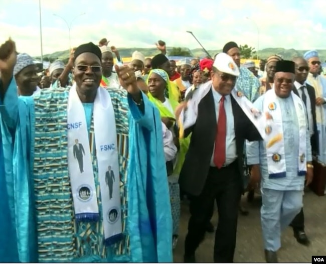 Cameroon's communication minister and leader of the National Salvation Front party, Issa Tchiroma (L), campaign in support of incumbent President Paul Biya in Garoua, Cameroon, Sept 22, 2018. (M.E. Kindzeka/VOA)