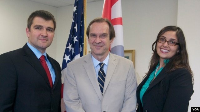 Left to right: George Cernat (Chief Marketing Officer of AudioNow), David Ensor (VOA Director), and Addie Nascimento (Chief of Digital Syndication, BBG's Office of Strategy and Development) signed today's agreement.