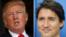 川普週一會見加拿大總理杜魯多(右)。