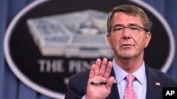 Menteri Pertahanan Amerika Ashton Carter berbicara di Pentagon (foto: dok).