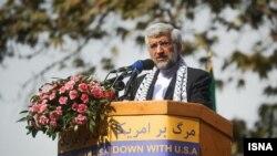 سعید جلیلی، رقیب حسن روحانی در انتخابات ریاست جمهوری و دیپلمات ارشد سابق ایران در گفتگوهای اتمی - ۱۳ آبان ۱۳۹۲