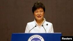 Tổng thống Nam Triều Tiên Park Geun-hye (C) trong bài diễn văn kỷ niệm 95 năm ngày Triều Tiên thoát khỏi ách đô hộ của Nhật Bản, Seoul, 1/3/2014