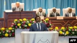 Le président de la République démocratique du Congo, Joseph Kabila, prononce un discours sur l'état de la nation au parlement à Kinshasa le 19 juillet 2018.
