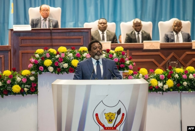 FILE - The president of the Democratic Republic of the Congo, Joseph Kabila, delivers a state-of-the-nation speech at parliament in Kinshasa, July 19, 2018.