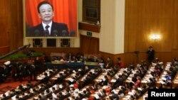 Discurso do primeiro-ministro chinês, Wen Jiabao marcou a abertura do Congresso Nacional do Povo, hoje, em Pequim