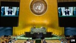 اقوام متحدہ کی جنرل اسمبلی کے 76ویں اجلاس سے وزیراعظم عمران خان نے بذریعہ ویڈیو لنک نے خطاب کیا۔