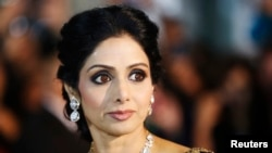 "FILE - Actress Sridevi Kapoor arrives for the gala presentation of ""English Vinglish"" at the 37th Toronto International Film Festival, Sept. 14, 2012."
