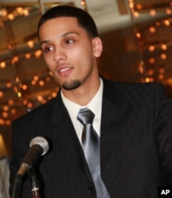Brandon Suarez, a drop-out who dropped back in, gave his class' graduation address in February 2011.