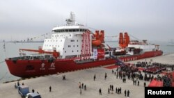 FILE - A general view of Chinese ice breaker ship 'Xuelong' - also called 'Snow Dragon' - docking at Tianjin.