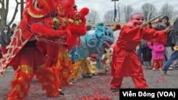 Một màn múa lân ngày mùng một Tết Đinh Dậu ở Eden Center, tiểu bang Virginia, hôm 28/1.