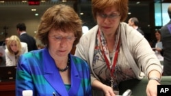 23일 벨기에 브뤼셀에서 열린 EU 외교 회담 전, 외교안보 고위대표 캐서린 애쉬튼.