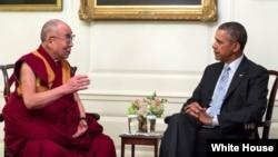 Prezident Obama Oq uyda Dalay Lama bilan uchrashmoqda, arxiv surat, 21-fevral, 2014-yhil