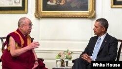 美國總統奧巴馬白宮會見西藏精神領袖達賴喇嘛(2014年2月21日資料照)