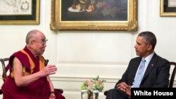 美国总统奥巴马白宫会见西藏精神领袖达赖喇嘛