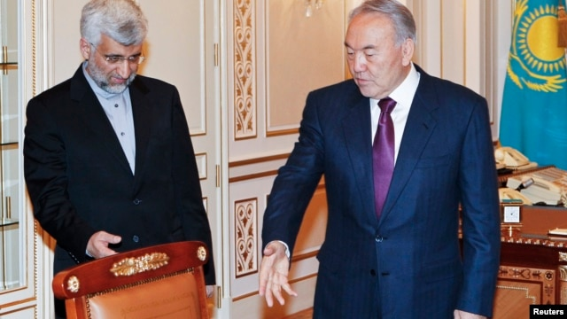 Kazakhstan's President Nursultan Nazarbayev (R) meets with Iran's Supreme National Security Council Secretary and chief nuclear negotiator Saeed Jalili in Almaty, Kazakhstan, Feb. 25, 2013.