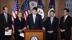 Republican Congressman Paul Ryan of Wisconsin, center, with other Republican lawmakers during a news conference Wednesday
