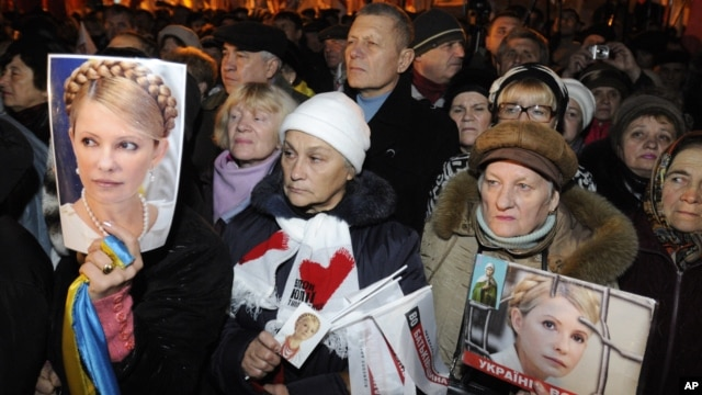 Supporters of the Ukrainian Opposition party hold up photos of the imprisoned former Ukrainian PM, Yulia Tymoshenko, whilst taking part in a rally in Kiev, Ukraine, November 12, 2012.
