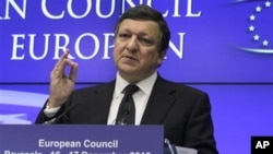 European Commission President Jose Manuel Barroso speaks during a final media conference at an EU summit in Brussels, 17 Dec 2010