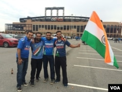 Indian fans get set for the game at New York's Citi Field, Nov. 7, 2015.