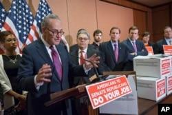 From left, Sen. Charles Schumer, D-N.Y., Sen. Al Franken, D-Minn., Sen. Richard Blumenthal, D-Conn., and Sen. Chris Murphy, D-Conn., criticize Republican leadership at a news conference on Capitol Hill in Washington, Feb. 24, 2016