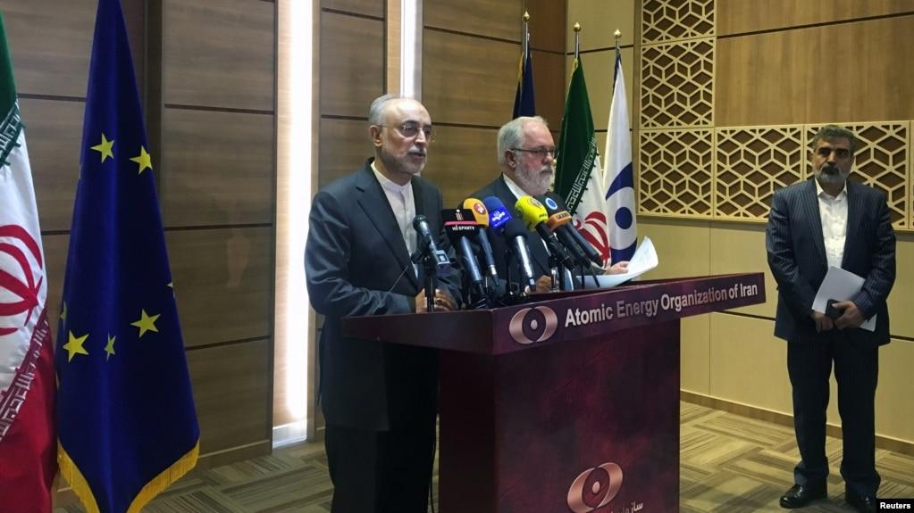 Глава энергетической политики Евросоюза Мигель Ариас Канете и руководитель ядерной программы Ирана Али Акбар Салехи