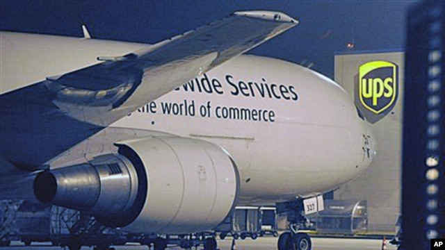 A cargo plane parks at the UPS distribution center at the International Cargo Airport in Cologne, western Germany, 01 Nov 2010. After intercepting two mail bombs addressed to Chicago-area synagogues, investigators found out that packages that terrorists i