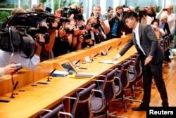 香港知名活动人士、前学生领袖黄之锋在德国柏林出席一个新闻发布会。(2019年9月11日)