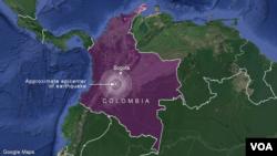 Earthquake near Bogota, Colombia