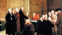 "An 18th century painting called ""Congress Voting the Declaration of Independence."""