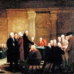 """An 18th century painting called """"Congress Voting the Declaration of Independence"""""""