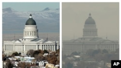 FILE - This combination of Dec. 13 and 17, 2018 photos shows the Utah State Capitol during a clear and an inversion day in Salt Lake City. (AP Photo/Rick Bowmer)