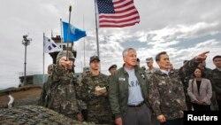 美國國防部長哈格爾訪問南韓首爾出席美韓南安全會議期間最後達成。9月30日在南韓休戰村視察。