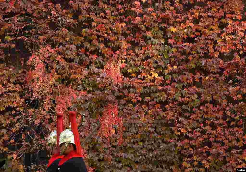 Members of the Household Cavalry ride past autumn foliage in central London, Britain.