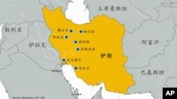 伊朗核設施分佈圖。