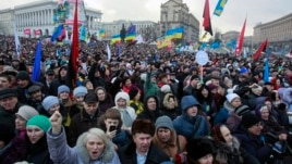 Anti-government protesters attend a rally at Independence Square in Kyiv, Jan. 12, 2014.