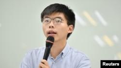 香港眾志秘書長、前學生領袖黃之鋒9月3日在台灣出席新聞發佈會。